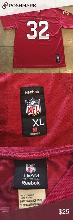 Reebok Cardinals James jersey in XL. Men's XL Reebox Cardinals James #32 jersey in good condition. Some of the dots look a little faded, but still in good condition. NFL Team Apparel Shirts Tees - Short Sleeve
