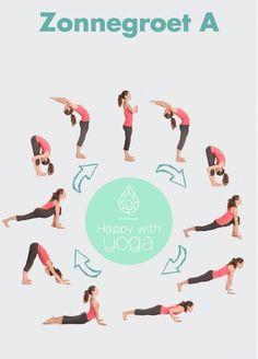 Surya Namaskar: Zonnegroet/ Sun salutation — joy of yoga Ashtanga Yoga, Bikram Yoga, Kundalini Yoga, Yoga Meditation, Yoga Beginners, Beginner Yoga, Diy Yoga, Yoga Training, Quick Weight Loss Tips