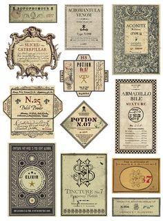 Harry Potter graphic design labels