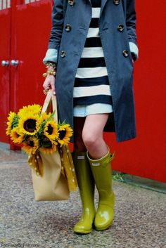 Chic spring look with trench coat, stripe dress and Hunter boots