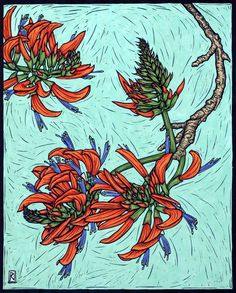 Exotic Flowers 1 - Linocuts — Rachel Newling