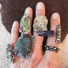 so many rings. rings by Studio Luna Verde so many rings. rings by Studio Luna Verde Stone Jewelry, Metal Jewelry, Jewelry Art, Jewelry Rings, Silver Jewelry, Jewelry Accessories, Silver Rings, Jewellery Box, Jewlery
