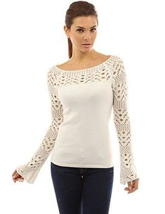 Looking for PattyBoutik Women's Boat Neck Crochet Inset Sweater ? Check out our picks for the PattyBoutik Women's Boat Neck Crochet Inset Sweater from the popular stores - all in one. PattyBoutik Women's Boat Neck Crochet Inset Sweater (Off-White S): Patt Pull Crochet, Crochet Lace, Crochet Blouse, Winter Outfits Women, Lace Inset, Crochet Fashion, Mode Outfits, Crochet Clothes, Boat Neck