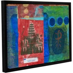 ArtWall Elena Ray Good Fortune Pagoda Gallery-Wrapped Floater-Framed Canvas, Size: 36 x 48, Blue