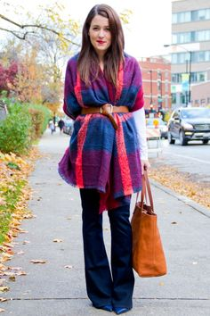 Belted blanket scarf with dark flared jeans | theglitterguide.com