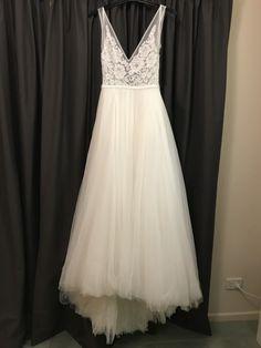 V Neck Country Wedding Dress with Slit