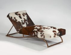 Jean Royère; Gilded Steel Adjustable Chaise Longue, c1950.
