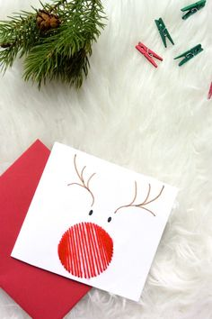 ▷ 1001 + ideas on how to make beautiful Christmas cards yourself .- ▷ 1001 + Ideen, wie Sie schöne Weihnachtskarten selber basteln Reindeer with a red nose made of thread, making Christmas cards with children - Homemade Christmas Cards, Christmas Cards To Make, Christmas Art, Handmade Christmas, Homemade Cards, Christmas Decorations, Christmas Ideas, Reindeer Christmas, Modern Christmas