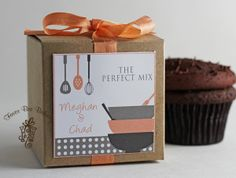 Cooking Couple...One Dozen Personalized Cupcake Mix Bridal Shower or Engagement Party Favors. $40.00, via Etsy.