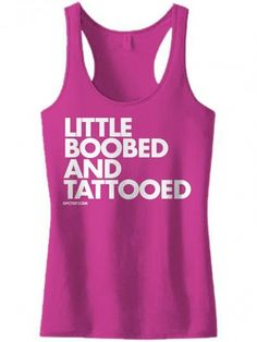"""Women's """"Little Boobed and Tattooed"""" Tank by Dpcted Apparel (Black) #inkedshop #tattooed #pink #tanktop"""