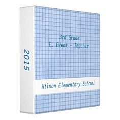 Blue and White Grid Teachers Binder - home gifts ideas decor special unique custom individual customized individualized