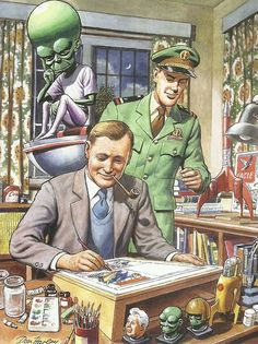 Don Harley's touching tribute to Frank Hampson, featuring Dan Dare and the Mekon, from 2013's splendid Dan Dare Space Fleet Operations Manual.