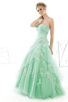 Ball Gown Strapless Sleeveless Floor Length Quinceanera Dresses Embroidery With Ruffles
