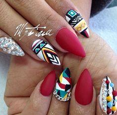 Tribal Nails- nail art, stiletto nails
