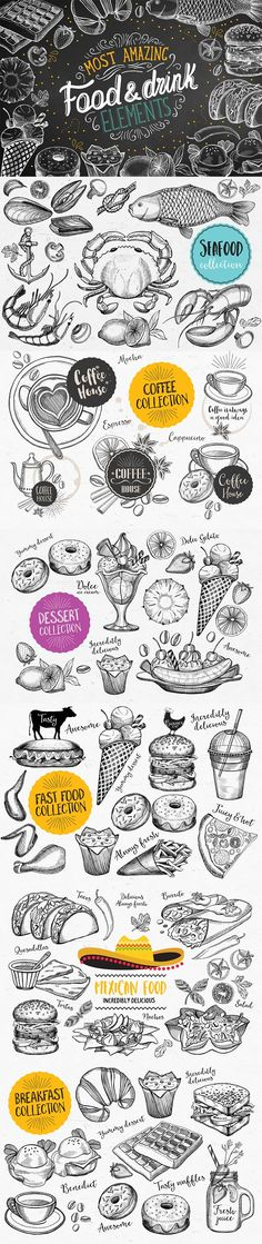 Food Bundle 75% off. Best food illustrations for businesses like food menu, blogging, graphic design, poster. More #watercolor #illustrations for your #brand you can download here ➝ https://creativemarket.com/graphics/illustrations?u=BarcelonaDesignShop