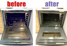 Easy oven cleaning- heat oven to 150 F . When it's hot, place a cup of ammonia in an oven safe dish on the top rack and a pot of boiling water on the bottom rack. Leave overnight and clean out oven in the AM.