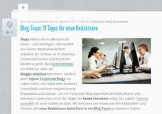 So gelingt die Einarbeitung neuer Redakteure in Blog-Teams. Quelle: http://karrierebibel.de/blog-team-11-tipps-fuer-neue-redakteure/