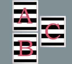 Nursery Art Alphabet Letter ABC Set of 3 Prints by ZeppiPrints, $48.00