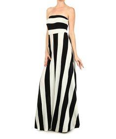 Black  White Stripe Strapless Maxi Dress