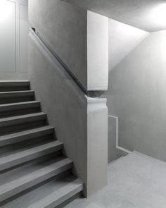 Integrated concrete handrail detail in Christ & Gantenbein's renovation of the Swiss National Museum in Zurich