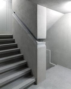 Integrated concrete handrail detail in Christ & Gantenbein's renovation of the Swiss National Museum in Zurich