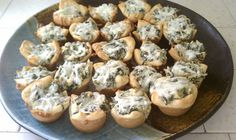 Spinach artichoke Bites-Plate  Could be made ahead & frozen. Then defrosted & warmed while we are at ceremony