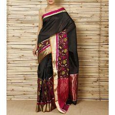 Black Silk Floral Skirt Chanderi Saree (100000037880)