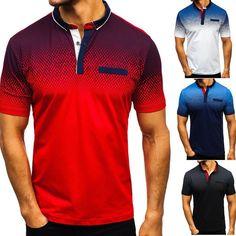 US Mens Tops Short Sleeve Gradient Plain T Shirts Horse Golf Sports Luxury Tee - Golf Tshirts - Ideas of Golf Tshirts Mens Tee Shirts, Casual T Shirts, Casual Tops, Men Casual, Collar Shirts, Sports Polo Shirts, Tennis Shirts, Camisa Polo, Stylish Men