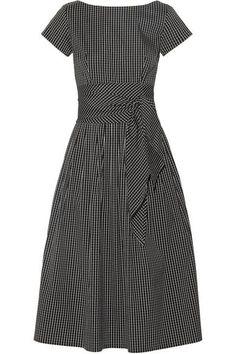 Michael Kors Collection - Checked Cotton-blend Poplin Midi Dress - Black - US6