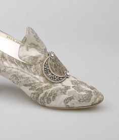 Shoes | F. Pinet | France; Paris | 1910 | silk, rhinestones, metallic thread | Chicago History Museum | Object #: 1957.1017a-b