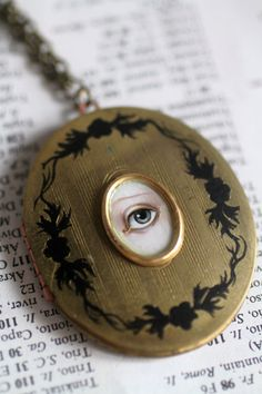 Victorian Mourning Locket - original painting by Mab Graves Eye Jewelry, Jewelry Art, Antique Jewelry, Vintage Jewelry, Jewelry Design, Jewelry Necklaces, Mourning Ring, Mourning Jewelry, Vintage Magazine