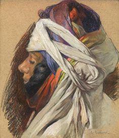 Peinture Algérie - Orientale au turban by Jules (Pierre) van Biesbroeck
