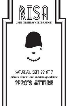 DIY 1920's Theme Party Invite. $25.00, via Etsy.