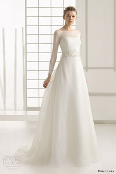 rosa clara 2016 bridal collection  bateau neckline illusion long sleeves a line wedding dress deba full
