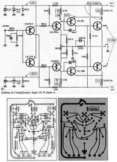 Jean Hiraga Super Class-A Amplifier Schematic and PCB Electronic Kits, Electronic Schematics, Hobby Electronics, Electronics Projects, Speaker Amplifier, Speakers, Electrical Projects, Circuit Diagram, Audiophile