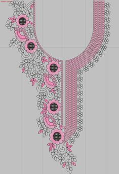 Neck #Kurties #EmbroideryDesigns #tedeex #embfile #embroidery Embroidery On Kurtis, Embroidery Neck Designs, Hand Embroidery Dress, Machine Embroidery Patterns, Embroidery Applique, Beaded Embroidery, Embroidery Stitches, Kamiz Design, Butterfly Template