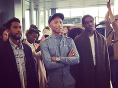 Look who fashion features director @fionahering_voguenl spotted at the @GstarRaw HQ  @Parrell @AsapRocky and @Miguel giving a tour of the Amsterdam offices  by nlvogue
