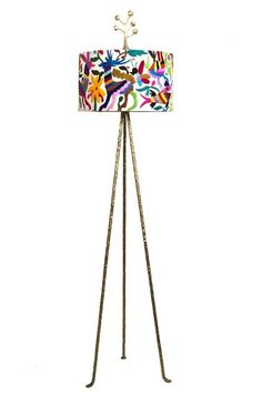 Funky floor lamp by Candelabra with an Otomi shade!  I love how the organic patterns in the shade continue into the structure of the floor lamp.