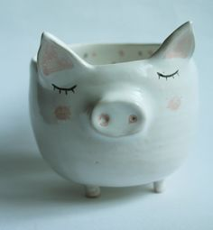 Aurelius the Pig  sweet pig with short legs pig mug by clayopera