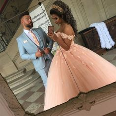Blush Pink Tulle Wedding Dresses Ball Gown Lace Appliques