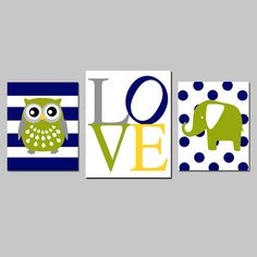 Baby Boy Nursery Art Trio Striped Owl LOVE Typography -etsy