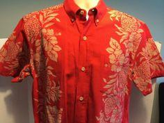 Paikaji-Red-Hawaiian-Button-Shirt-Okinawa-Hibiscus-Flower-Pineapple-Fruit-EUC