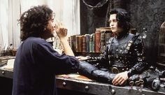 Tim Burton and Johnny Depp on the set of Edward Scissorhands Tim Burton Art, Tim Burton Films, Johnny Movie, Tim Burton Characters, Edward Scissorhands, Sweeney Todd, Corpse Bride, Scene Photo, Well Dressed Men