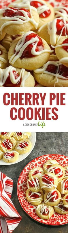 These pretty (and delicious!) shortbread style Cherry Pie cookies are perfect for holiday cookie exchanges or special occasions! Your guests will never guess how easy they are to make!