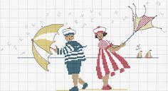 Children with umbrellas Cross Stitch Sea, Free Cross Stitch Charts, Cross Stitch Needles, Cross Stitching, Cross Stitch Embroidery, Embroidery Patterns, Hand Embroidery, Cross Stitch Designs, Cross Stitch Patterns