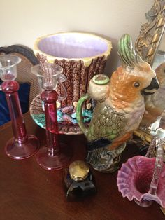 French St Clement Pottery Absinthe Parrot Pitcher c.1880 still has cork stopper although part of it is missing, rare to have it at all