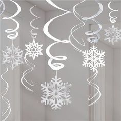 Silver Snowflake Hanging Swirls - Christmas Decorations - (Pack of Diy Christmas Fireplace, Diy Christmas Snowflakes, Christmas Diy, Snowflake Craft, Paper Snowflakes, Snowflake Garland, Cut Out Snowflakes, Diy Garland, Christmas Ceiling Decorations
