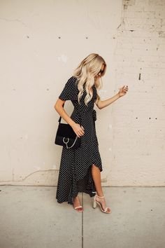 Dress // Heels // Handbag // Sunglasses // Necklce // Earrings // Lipstick // Photog: Gabe Johnson Flowy dresses paired with sunnies (and sometimes even sneakers) are a MUST in the summer! Ladies, NOTHING will keep you cooler in that 100 degree weather than a dress that flairs!   This po