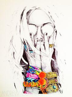 Ideas Pop Art Girl Illustration Colour For 2019 Art And Illustration, Arte Pop, Street Art, Creation Art, Drawn Art, Arte Sketchbook, Fashion Illustrations, Love Art, Painting & Drawing