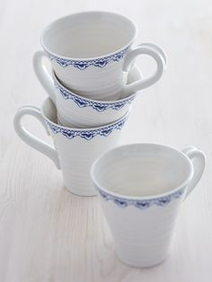 Sophie Blue Mugs - Set of Four: £42.00 http://www.sophieconran.com/kitchen-dining/sophie-blue-collection/sophie-blue-mugs-set-of-four Sophie Blue China